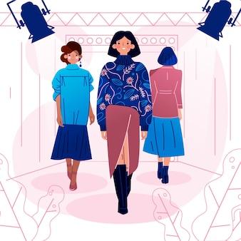 手描きのファッションショーの滑走路