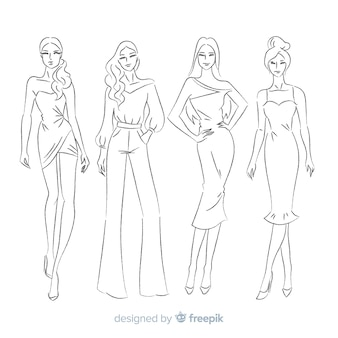 Hand drawn fashion sketch collection