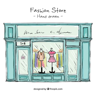 Hand drawn fashion store shop window