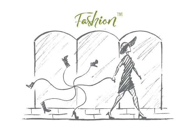 Hand drawn fashion time concept sketch