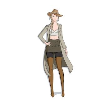 手描きのファッションの女性のイラスト
