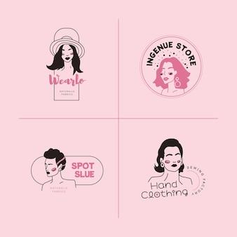 手描きのファッションの女性のロゴのテンプレートセット。落書きスタイルのベクトルイラスト。