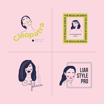 Hand drawn fashion woman logo template set. doodle style vector illustration.
