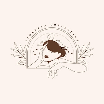 Hand drawn fashion woman logo template