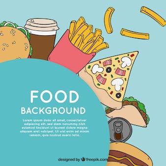 Hand drawn fast food background