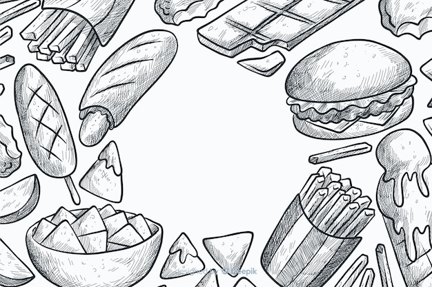 Hand drawn fast food background