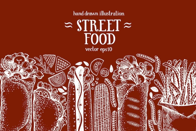 Hand drawn fast food banner. street food background.