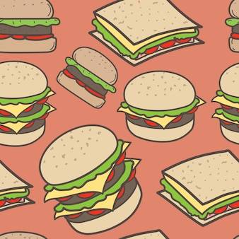 Hand drawn fast food and burgers pattern