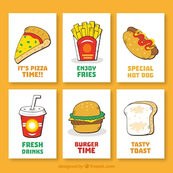 Hand drawn fast food card collection