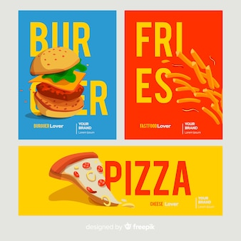 Hand drawn fast food card set