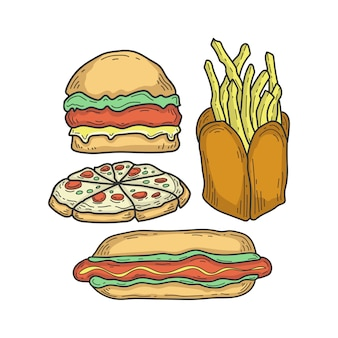 Hand drawn fast food collections
