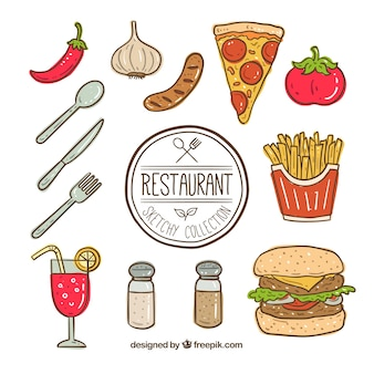 Hand drawn fast food element collection
