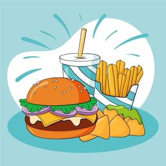 Hand drawn fast food illustration