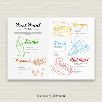 Hand drawn fast food restaurant menu template