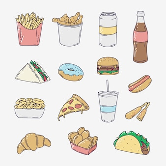 Hand drawn fast junk food
