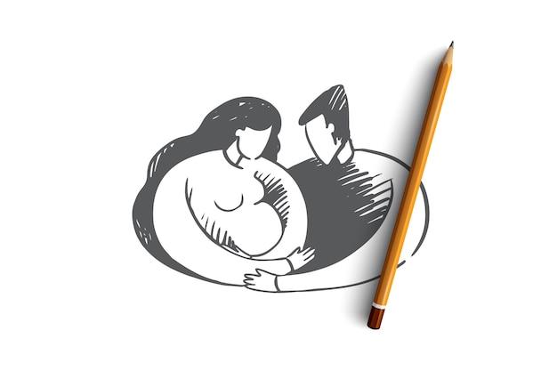手描きの父と母のヒジャーブコンセプトスケッチを着て赤ちゃんを抱いて
