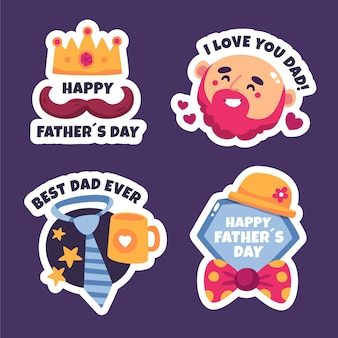 Hand drawn father's day badge collection