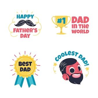 Collezione di badge per la festa del papà disegnati a mano
