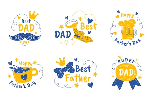 Hand drawn father's day badges collection