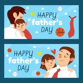 Set di banner festa del papà disegnati a mano