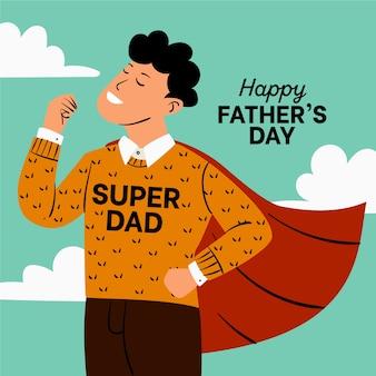スーパーお父さんと手描きの父の日イラスト