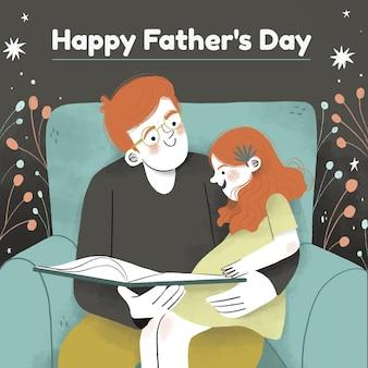 Illustrazione disegnata a mano di festa del papà
