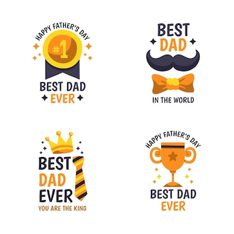 Hand drawn father's day labels collection