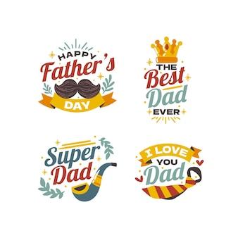 Collezione di etichette per la festa del papà disegnate a mano