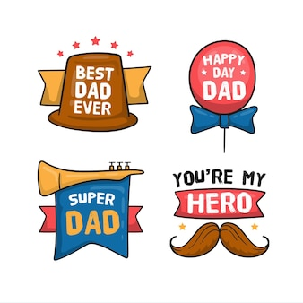 Hand drawn father's day labels set
