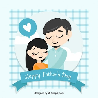 Hand drawn father with her daugther card