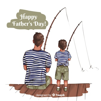 Hand drawn fathers day background
