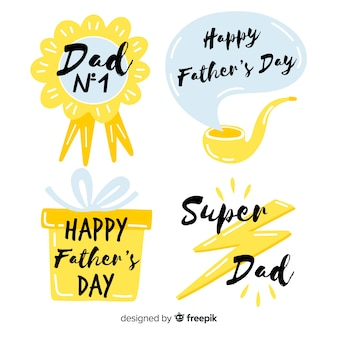 Hand drawn fathers day badge collection