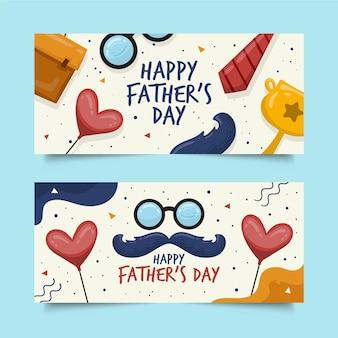 Hand drawn fathers day banners template