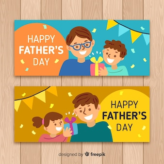 Hand drawn fathers day banners