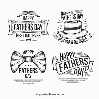 Hand drawn fathers day labels