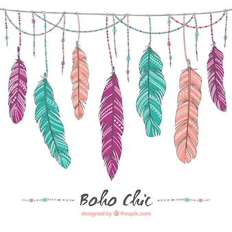 Hand drawn feather background
