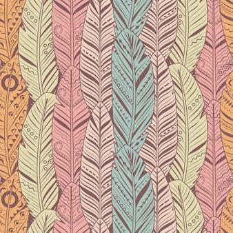 手描きの羽のシームレスなパターン。