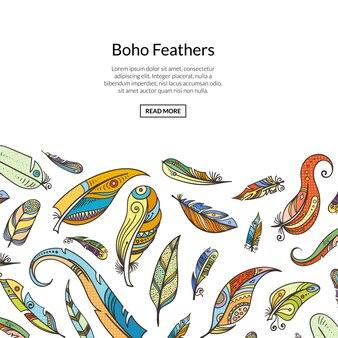 手描きの羽のwebテンプレート