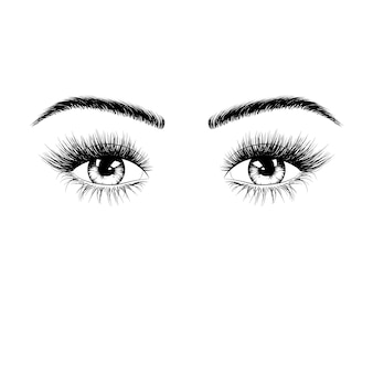 Hand drawn female eyes silhouette