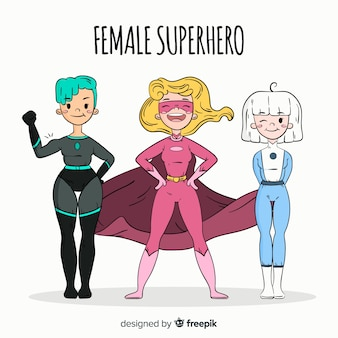 Hand drawn female superhero character collection