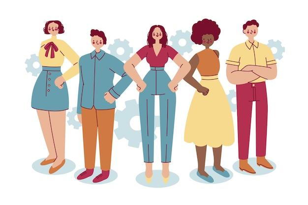 Leader della squadra femminile disegnata a mano in un gruppo di persone