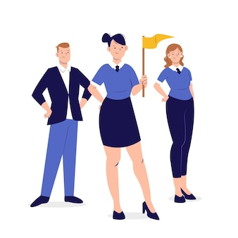 図解手描きの女性チームリーダー