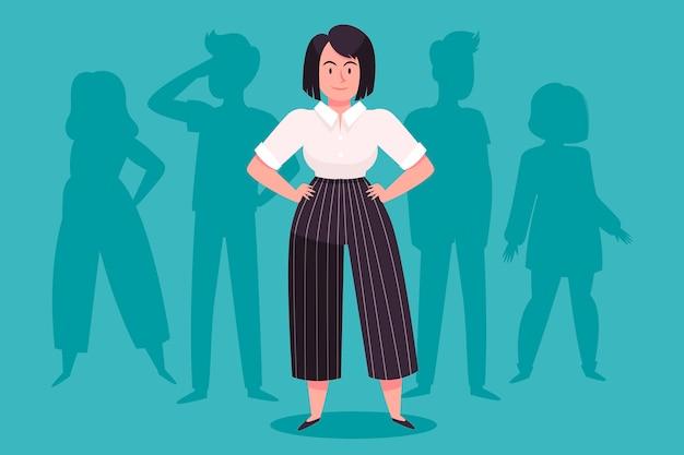 Illustrazione di leader della squadra femminile disegnata a mano