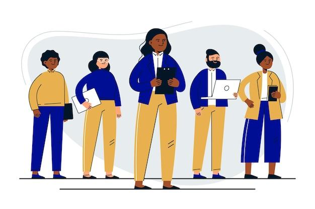손으로 그린 여성 팀 리더