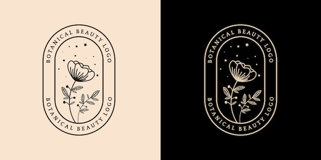 スパサロン肌髪美容ブティックや化粧品会社に適した手描きの女性と花の植物のロゴ