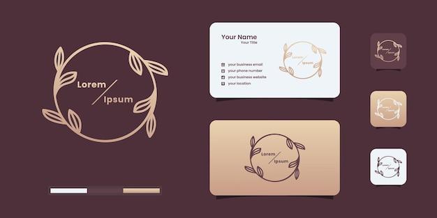 手描きのフェミニンでモダンな美しさの自然のロゴデザインテンプレート。ロゴはサロン、スパ、ホテルなどを使用してください。