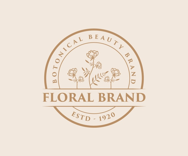 スキンケアスパサロンの手描きのフェミニンな美しさと花の植物のロゴ