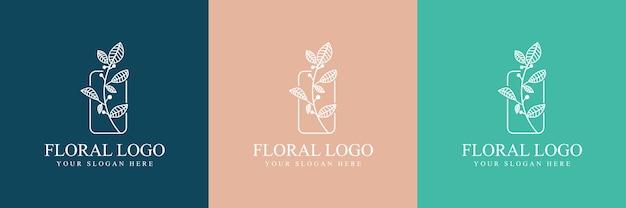 スパサロンのスキン&ヘアケアのための手描きのフェミニンな美しさと花の植物のロゴ