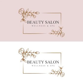スパサロンのスキン&ヘアケアのための手描きのフェミニンな美しさと花の植物のロゴフレーム