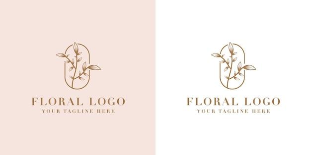 スパサロンのスキン&ヘアケアのための手描きのフェミニンな美しさと花の植物のロゴフレーム Premiumベクター